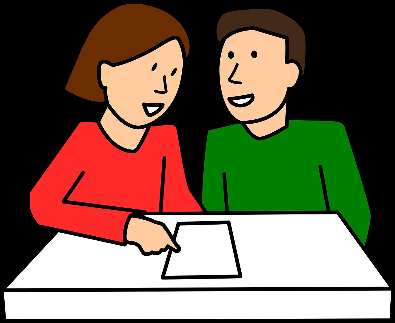 Σκίτσο με 2 σπουδαστές που μαθαίνουν ιταλικά