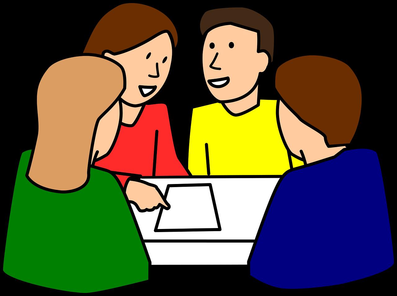 Σκίτσο με 4 σπουδαστές που μαθαίνουν ιταλικά